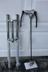 That is a picture of the shaft drive that I intend to be housed by the dual crown front forks on the left.